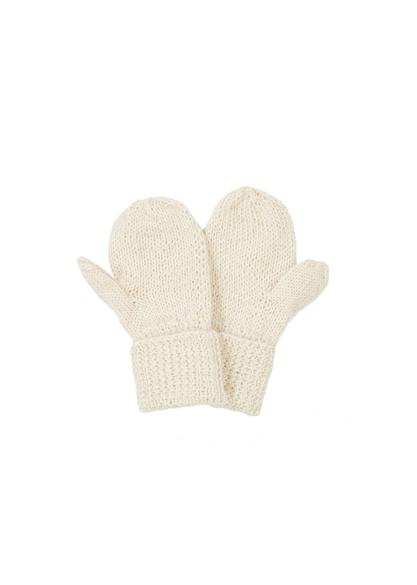 Boys & Gilrs White Alpaca Gloves