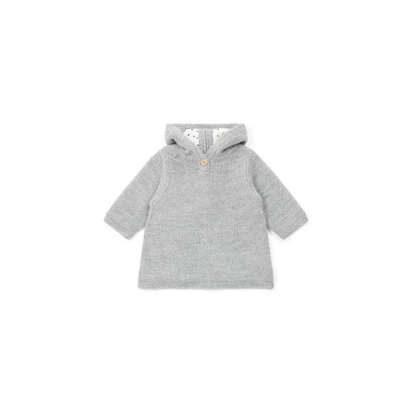 Baby Girls Grey Hooded Wool Sweater
