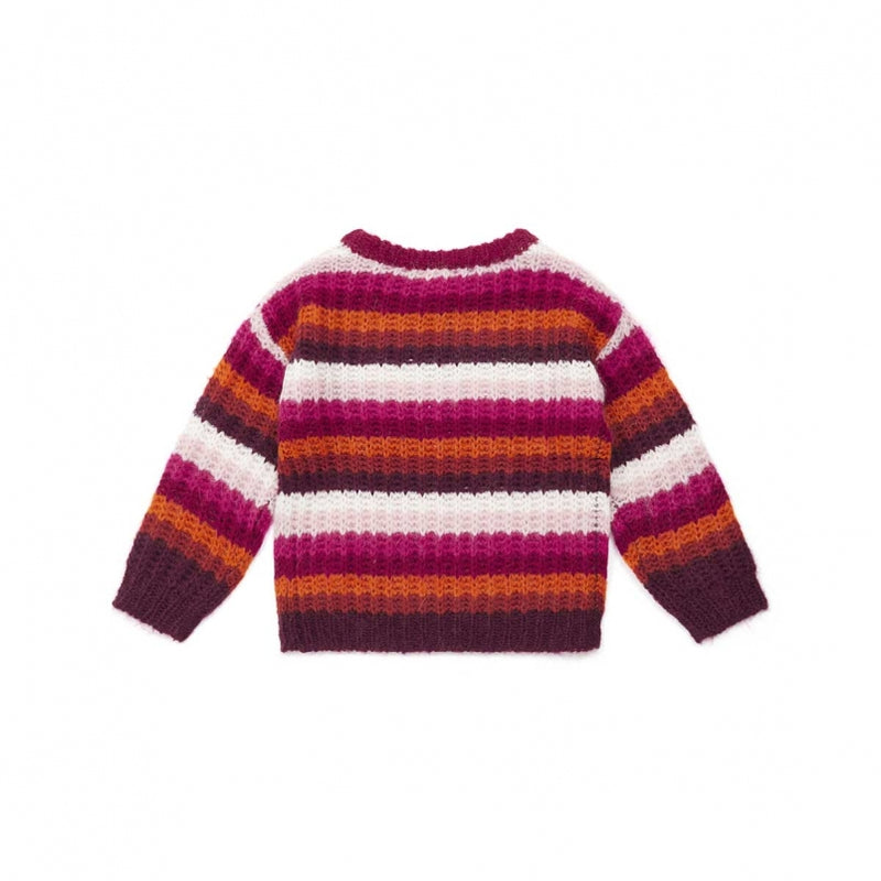 Girls Pink Striped Sweater