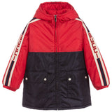 Boys Red & Blue Hooded Logo Coat