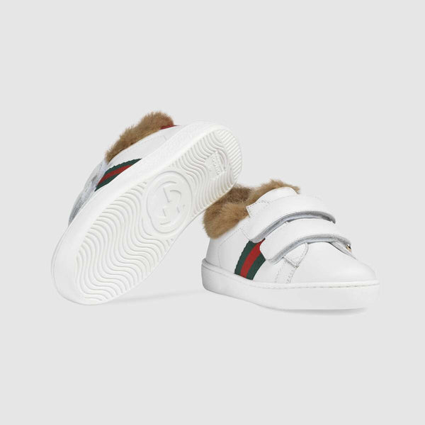 Baby Boys & Girls White Leather Velcro Shoes