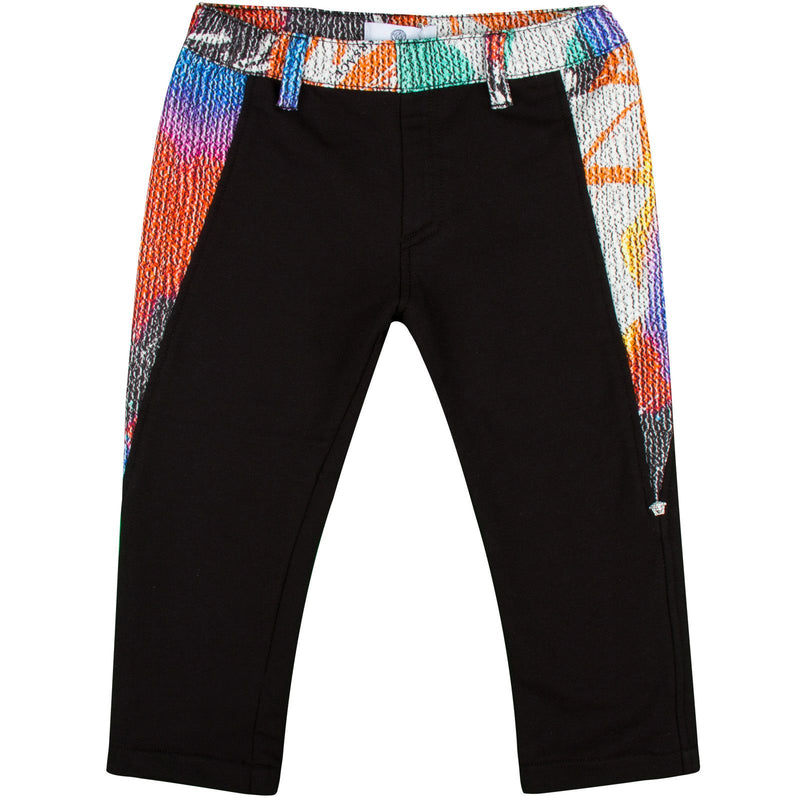 Baby Boys Black Trousers With Multicolor Elasticated Waistband - CÉMAROSE | Children's Fashion Store - 1