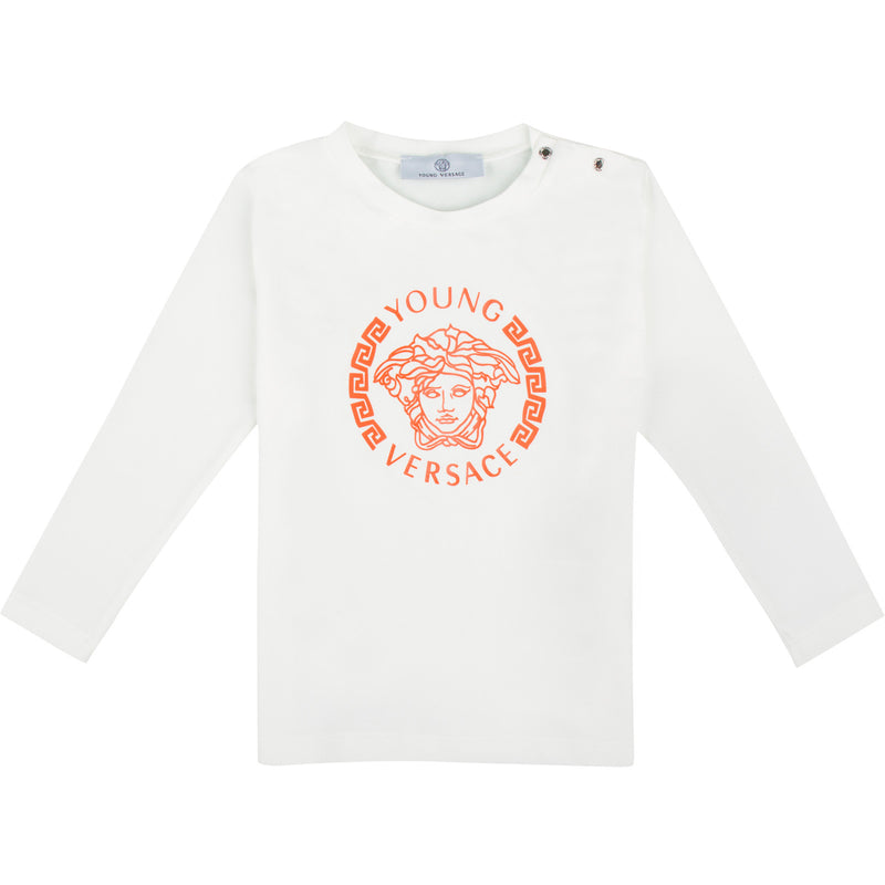 Baby Boys Ivory T-Shirt With Orange Medusa Logo - CÉMAROSE | Children's Fashion Store - 1