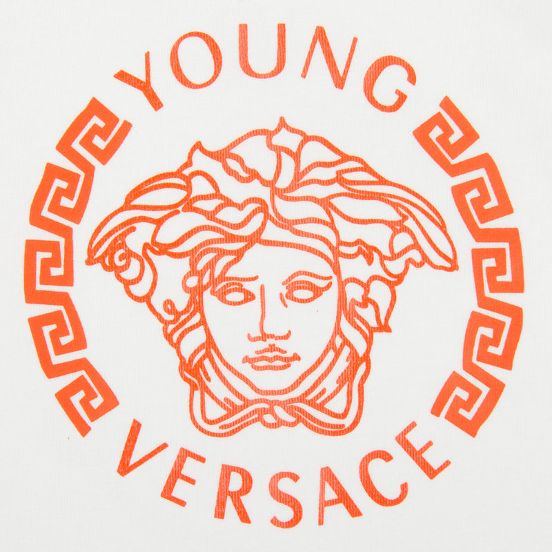 Baby Boys Ivory T-Shirt With Orange Medusa Logo - CÉMAROSE | Children's Fashion Store - 3