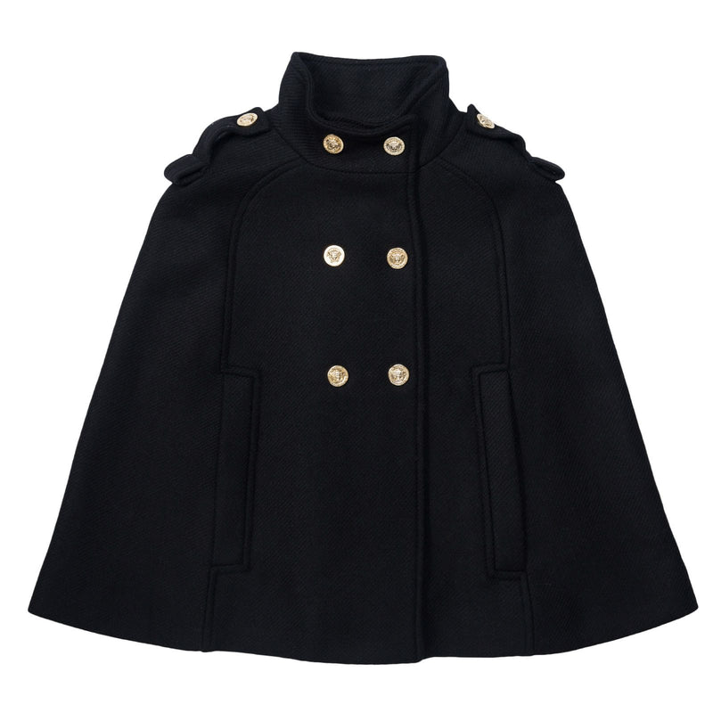 Girls Navy Blue Coat With Fancy Rivets Trims - CÉMAROSE | Children's Fashion Store - 1