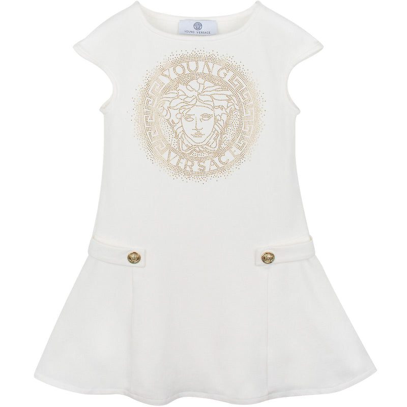 Girls White Dropped Waist Dress Gold With Versace Brand Logo - CÉMAROSE | Children's Fashion Store - 1