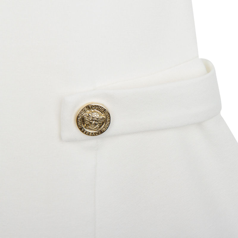 Girls White Dropped Waist Dress Gold With Versace Brand Logo - CÉMAROSE | Children's Fashion Store - 4