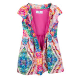 Girls Multicolor Floral Kaleidoscope Dress With Zip-up - CÉMAROSE | Children's Fashion Store - 3