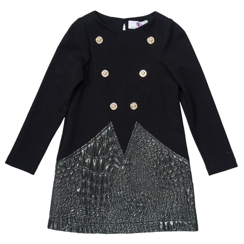 Girls Black&Silver Bi-material Dress With Fancy Rivets Trims - CÉMAROSE | Children's Fashion Store - 1