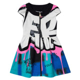 Girls Multicolor Zip-up Dress With Versace Brand Logo - CÉMAROSE | Children's Fashion Store - 1
