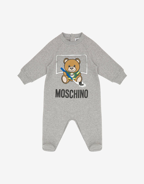 Baby Boys & Girls Grey Pattern Cotton Babysuit