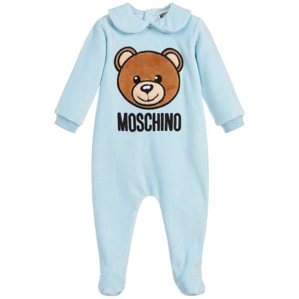 Baby Boys Blue Cotton Velour Babysuit