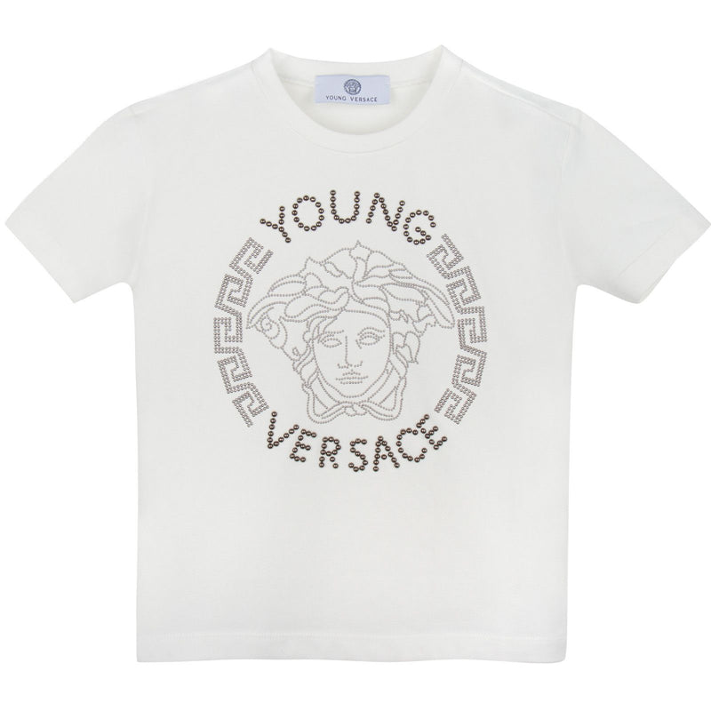 Boys Ivory Medusa Studded Logo Cotton Jersey T-Shirt - CÉMAROSE | Children's Fashion Store - 1