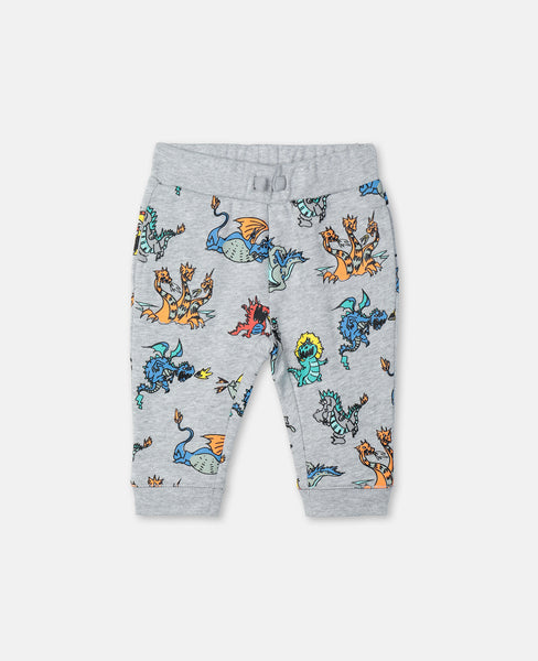 Baby Boys & Girls Grey Dragon Cotton Trousers