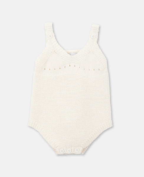 Baby Girls Ivory Knit Cotton Babysuit
