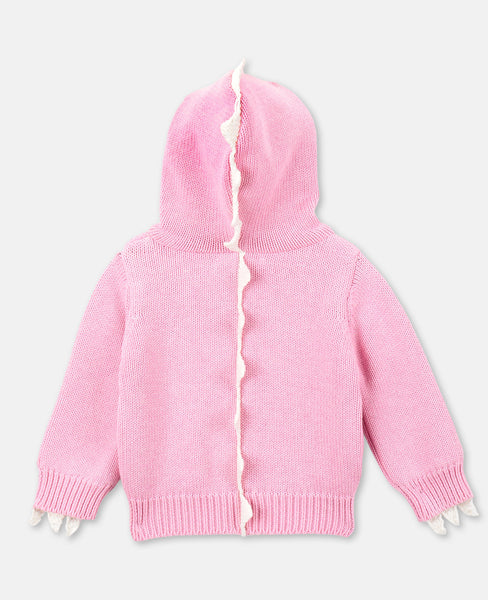 Baby Girls Pink Hooded Cotton Cardigan