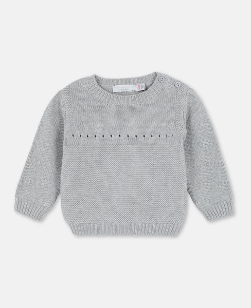 Baby Boys & Girls Grey Cotton Sweater