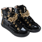 Girls Black Patent Leather High-Top Trainers - CÉMAROSE | Children's Fashion Store - 1