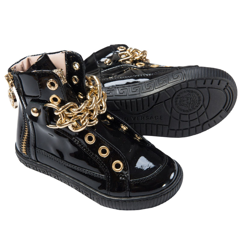Girls Black Patent Leather High-Top Trainers - CÉMAROSE | Children's Fashion Store - 4