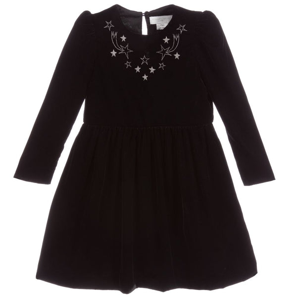 Girls Black Velvet Dress