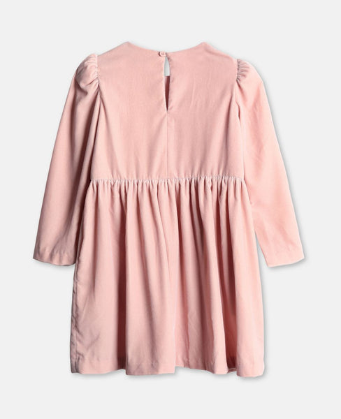 Girls Pink Velvet Dress