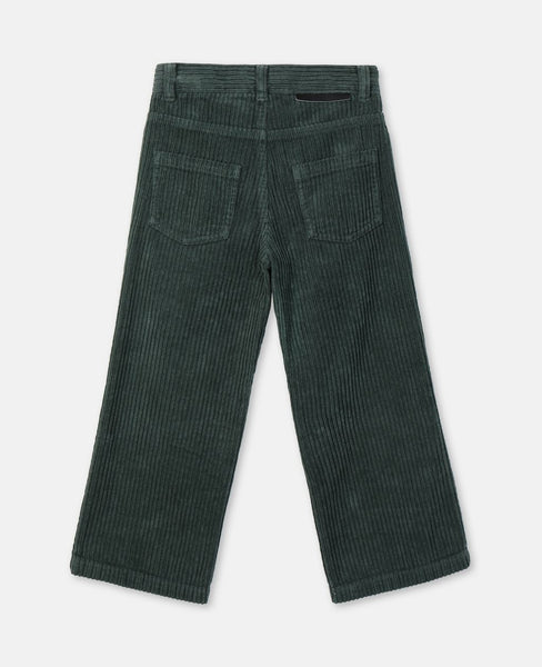 Girls Green Straight Cotton Trousers