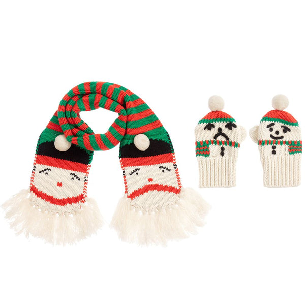 Girls Red & Green Cotton Scarf Set