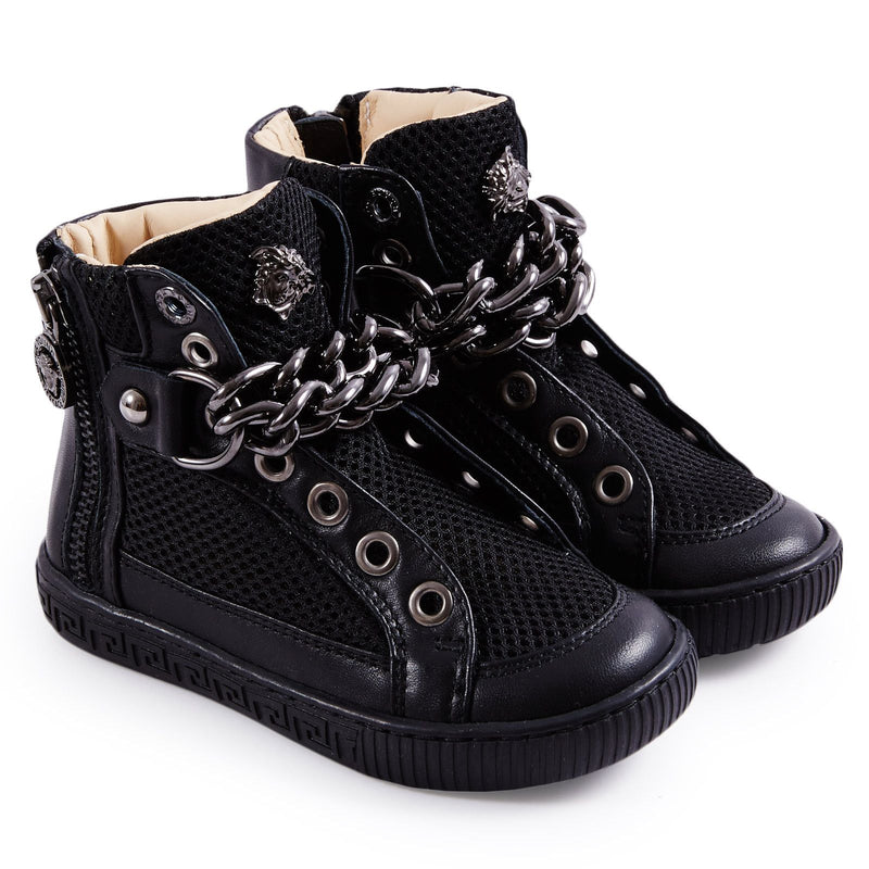 Girls Black Suede High-Top Trainers - CÉMAROSE | Children's Fashion Store - 1