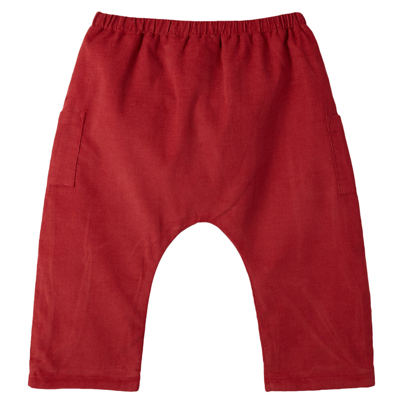 Baby Boys Rust Red Cotton Corduroy Trousers - CÉMAROSE | Children's Fashion Store - 2