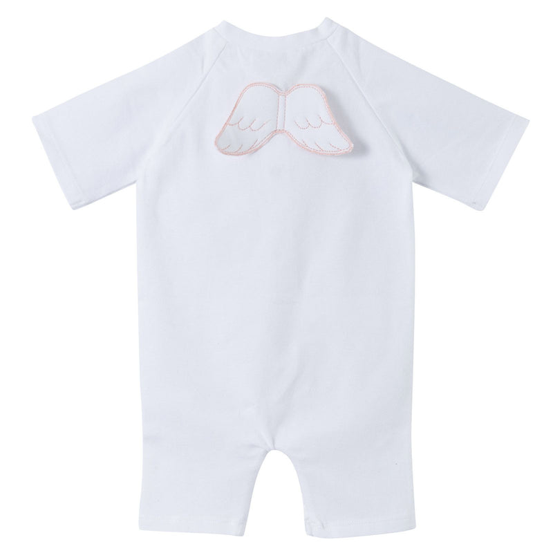 Baby White Cotton Babygrow With Angel Wings - CÉMAROSE | Children's Fashion Store - 2