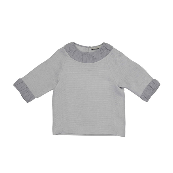 Girls Heather Grey Cotton Crew Collar 'Aimee' Blouse - CÉMAROSE | Children's Fashion Store