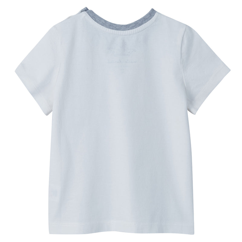 Baby Boys Ivory Tino Logo Cotton T-Shirt - CÉMAROSE | Children's Fashion Store - 2