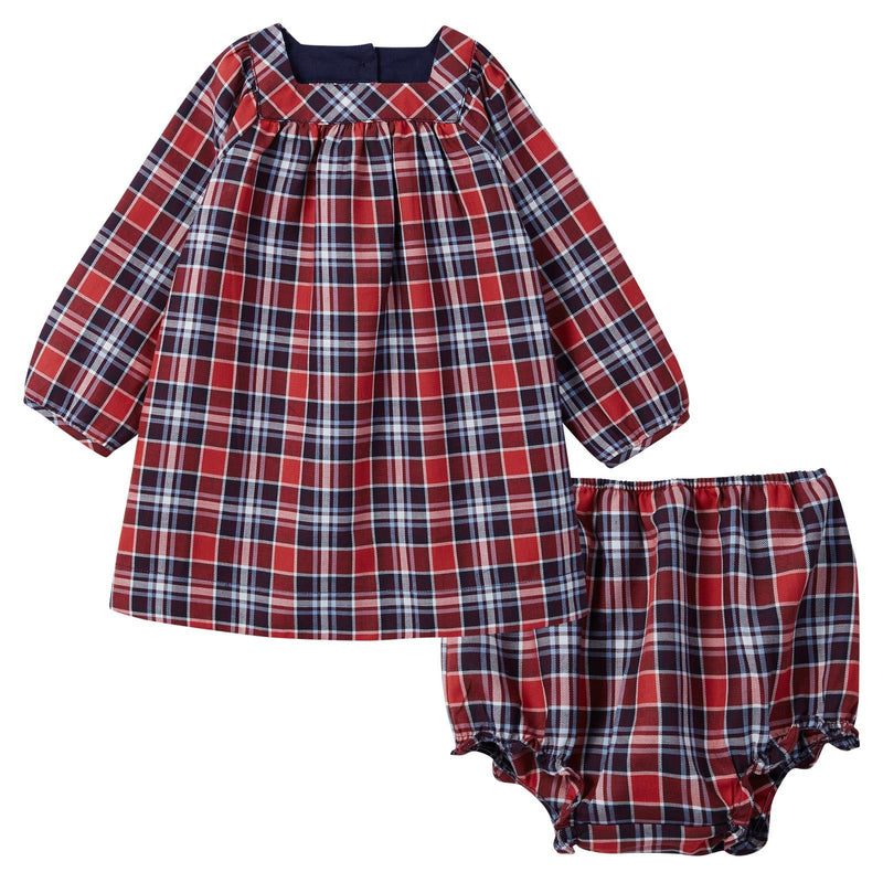 Baby Girls Red Tartan Dress With Bloomers - CÉMAROSE | Children's Fashion Store - 1