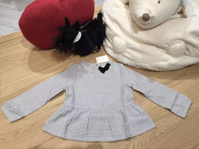 Girls Navy Blue Check Blouse With Bow Trims - CÉMAROSE | Children's Fashion Store