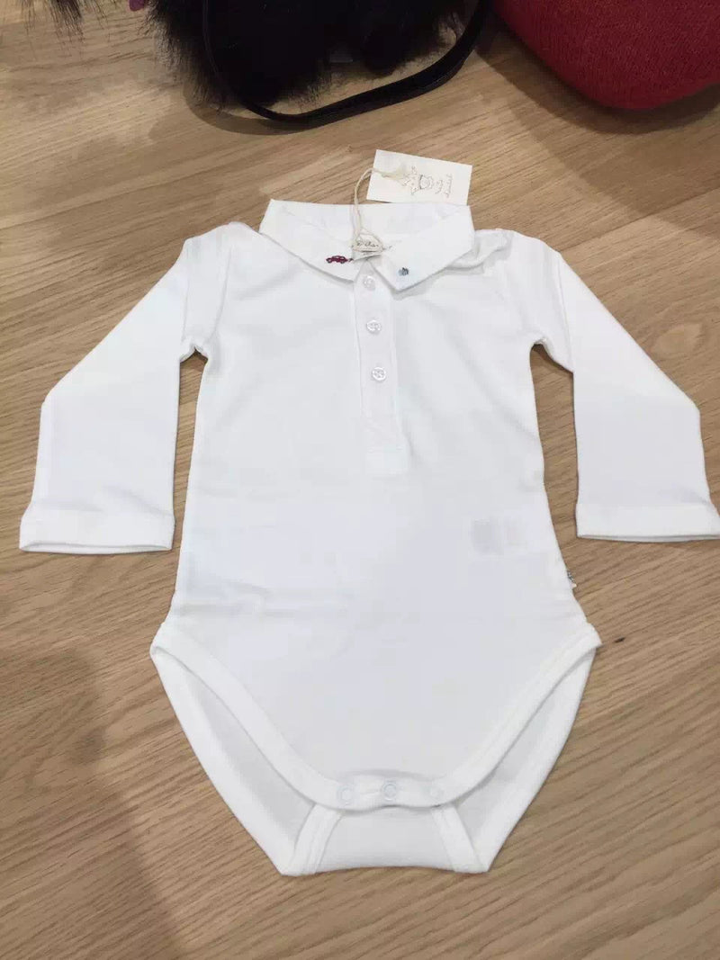 Baby Boys White Car Embroidered Bodysuit - CÉMAROSE | Children's Fashion Store