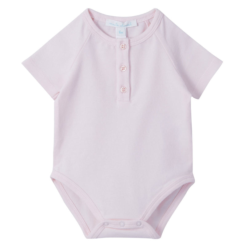 Baby Pink Short Sleeve Angel Wing Cotton Bodysuit - CÉMAROSE | Children's Fashion Store - 1