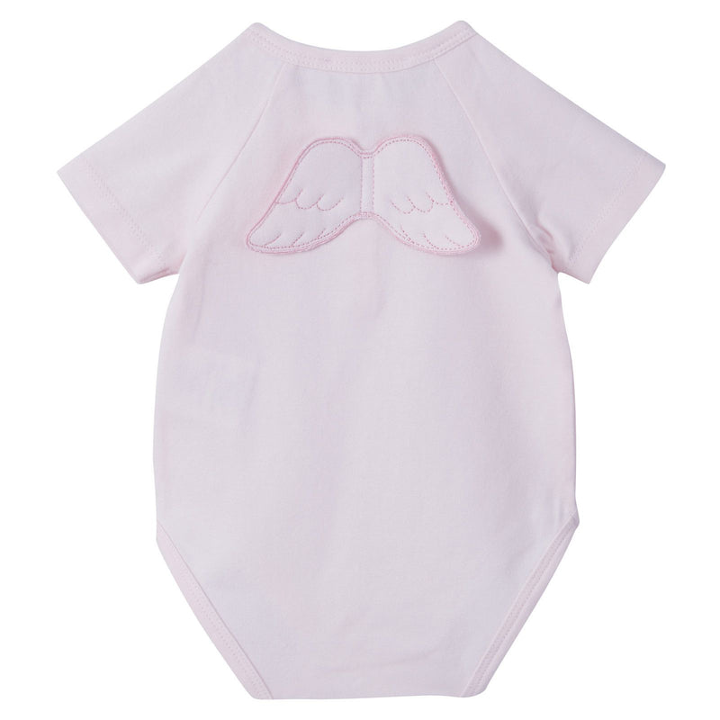 Baby Pink Short Sleeve Angel Wing Cotton Bodysuit - CÉMAROSE | Children's Fashion Store - 2