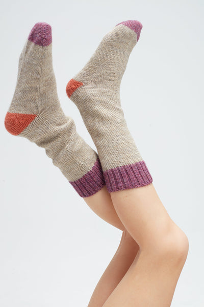 Girls Beige Alpaca Long Socks