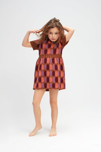 Girls Brown Diamond Pattern Alpaca Dress