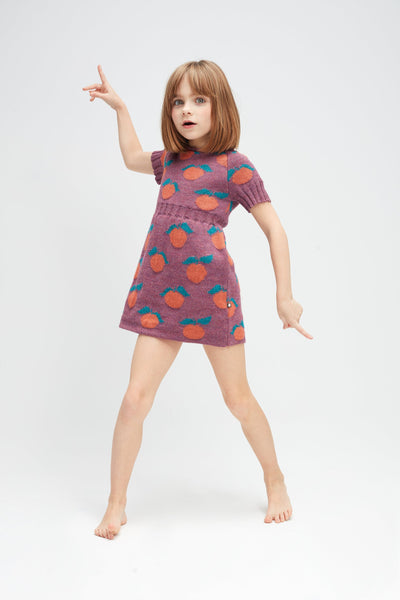 Girls Mauve Pattern Alpaca Dress