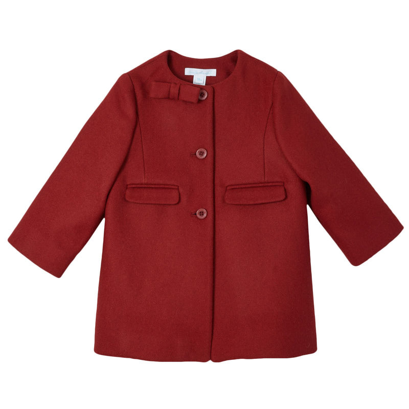 Baby Girls Red Wool Coat With Bow Trims - CÉMAROSE | Children's Fashion Store - 1