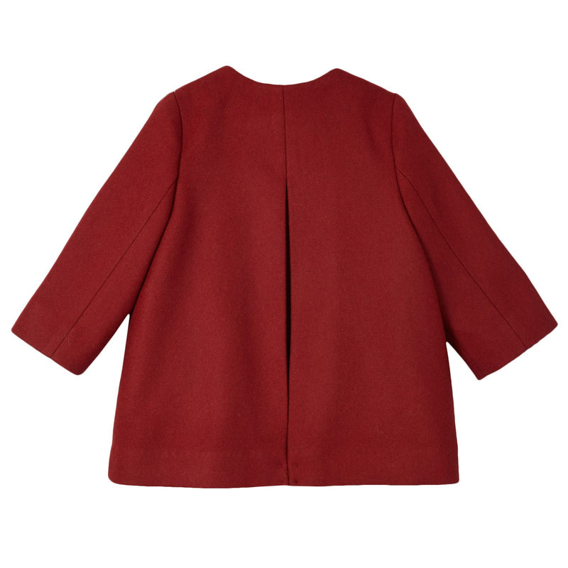 Baby Girls Red Wool Coat With Bow Trims - CÉMAROSE | Children's Fashion Store - 2