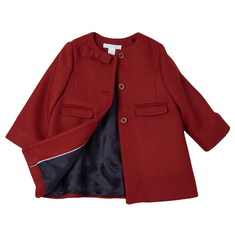 Baby Girls Red Wool Coat With Bow Trims - CÉMAROSE | Children's Fashion Store - 3