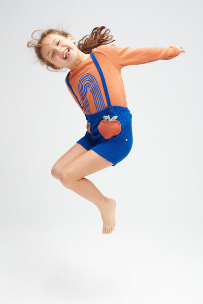 Girls Blue Clementine Pocket Alpaca Shorts