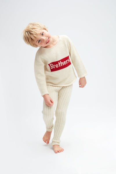 Boys White Brother Alpaca Sweater