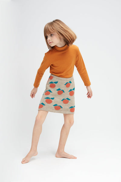 Girls Beige & Apricot Pattern Alpaca Skirt