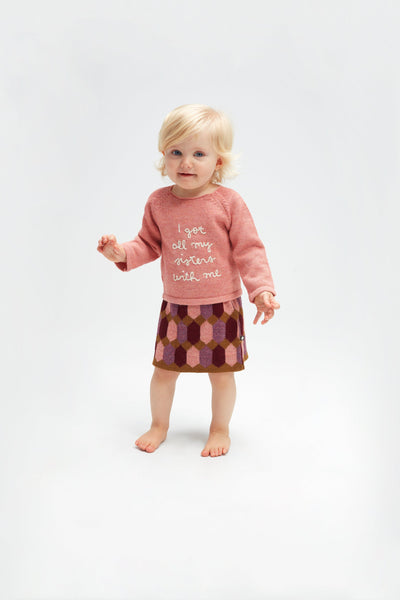 Girls Multicolor Diamond Pattern Alpaca Skirt