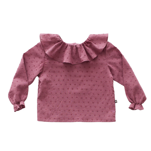 Girls Mauve Ruffle Collar Cotton Blouse