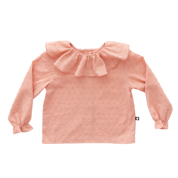 Girls Pink Ruffle Collar Cotton Blouse