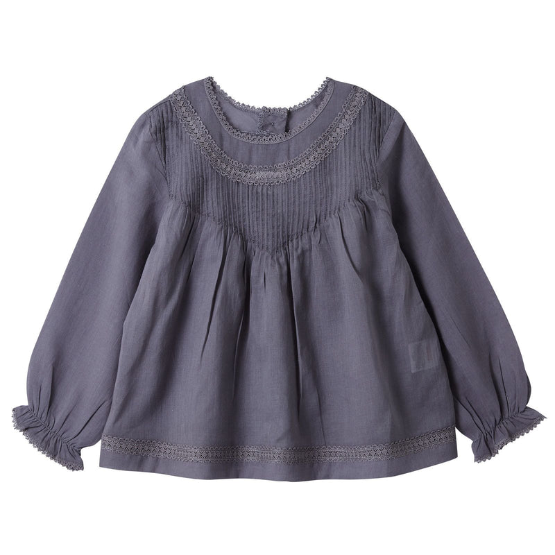 Baby Girls Grey Folk Blouse With Frilly Cuffs - CÉMAROSE | Children's Fashion Store - 1